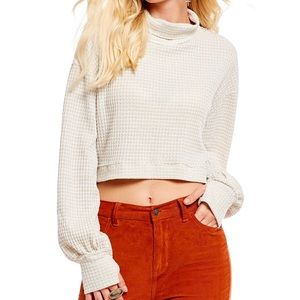 Free People Waffle Knit Turtleneck Pullover